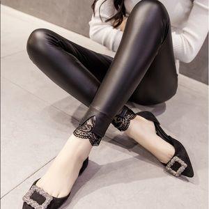 Pants - PU Leather Chic Lace Split Bottoms Legging